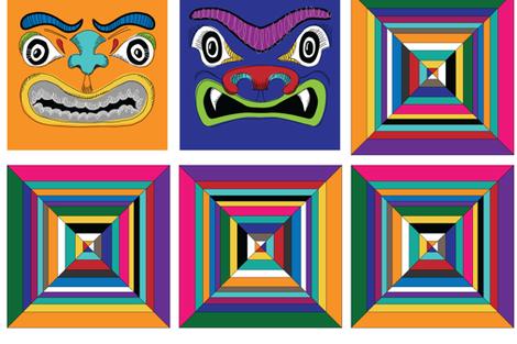 Totem Faces fabric by sammyk on Spoonflower - custom fabric