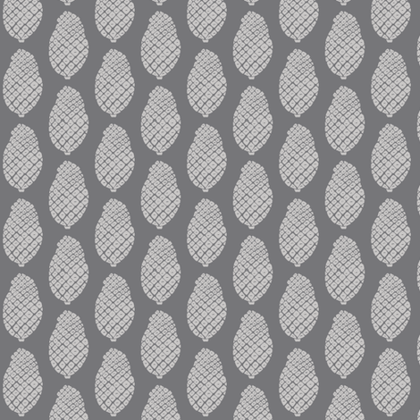 scattered pine cones grey on grey fabric by ali*b on Spoonflower - custom fabric