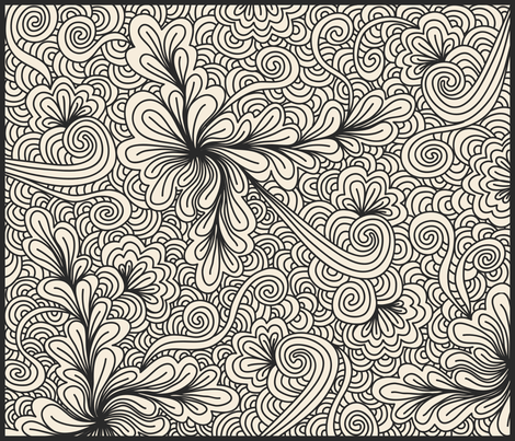 Floral Coloring Book Zentangle Fabric