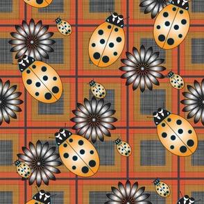 Lady_Bug_Flower_Orange_Plaid