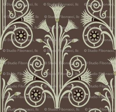 Lotus Damask Brown Olive Green Wallpaper