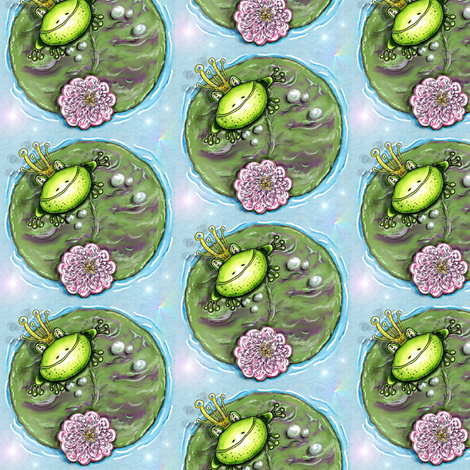 Frog Prince on his Lily Pad, small scale fabric by amy_g on Spoonflower - custom fabric