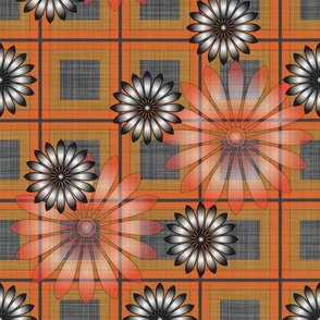 Flower_Orange_Plaid