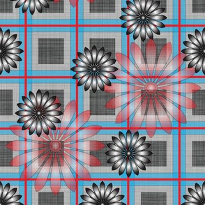 Flower_Grey_Plaid