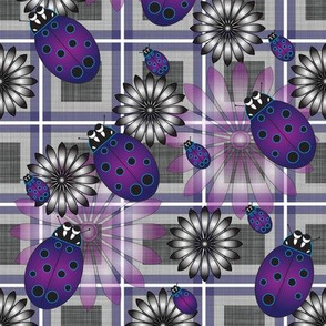 Lady_Bug_Flower_Purple_Plaid