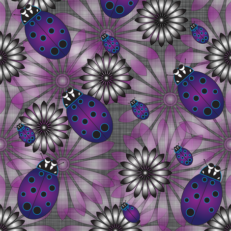 LG_Purple_Flower_Lady_Bug_Linen fabric by michelle_zollinger_tams on Spoonflower - custom fabric