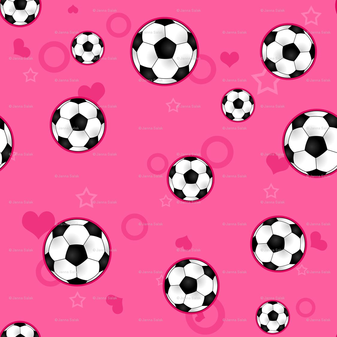 Soccer Ball Pattern Pink wallpaper - jannasalak - Spoonflower