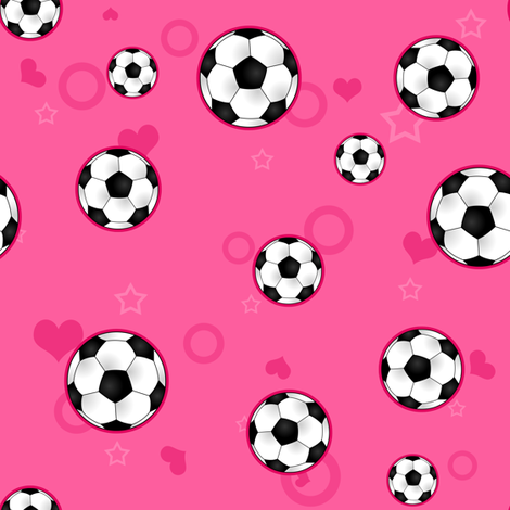 Soccer Ball Pattern Pink fabric by jannasalak on Spoonflower - custom fabric