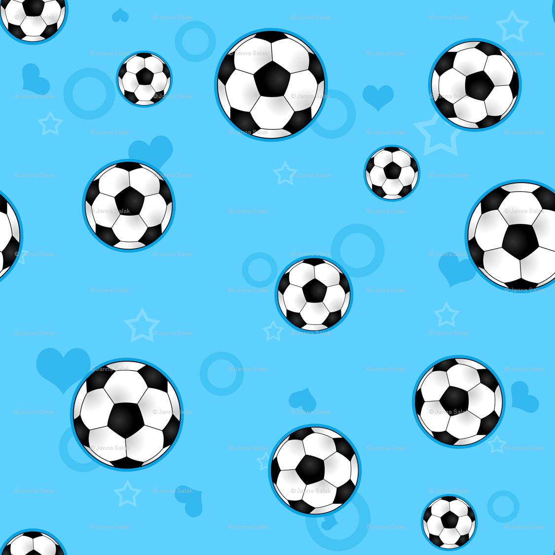 Soccer Ball Pattern Blue wallpaper - jannasalak - Spoonflower