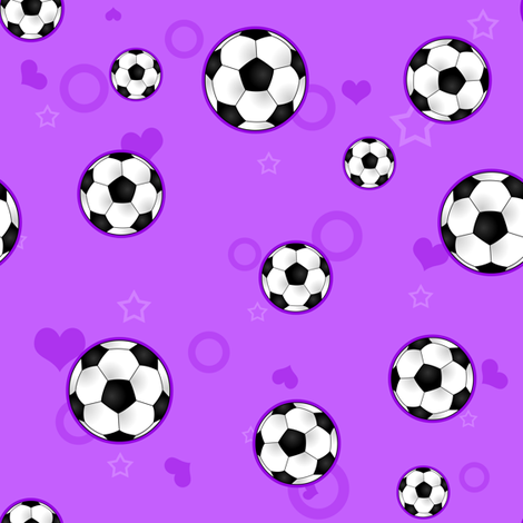 Cute Soccer Ball Pattern Purple fabric by jannasalak on Spoonflower - custom fabric