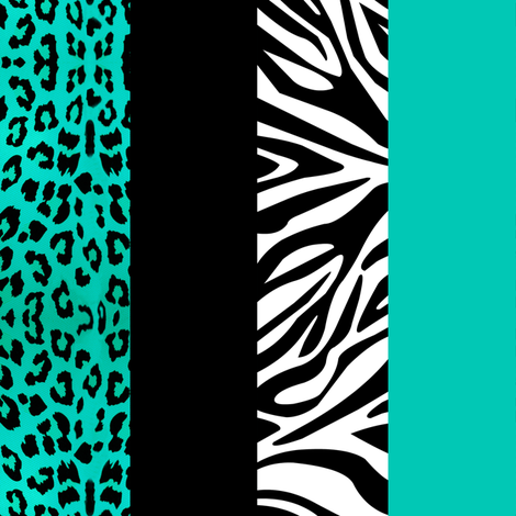 Aqua Animal Print - Leopard and Zebra fabric by jannasalak on Spoonflower - custom fabric