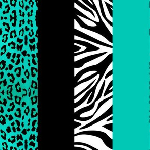 Aqua Animal Print - Leopard and Zebra