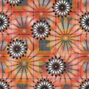LG_Orange_Flower_Plaid_Linen