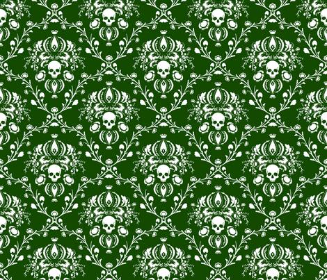 White and Green Skull Damask fabric by elizabeth on Spoonflower - custom fabric