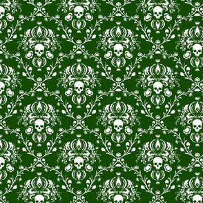 White and Green Skull Damask