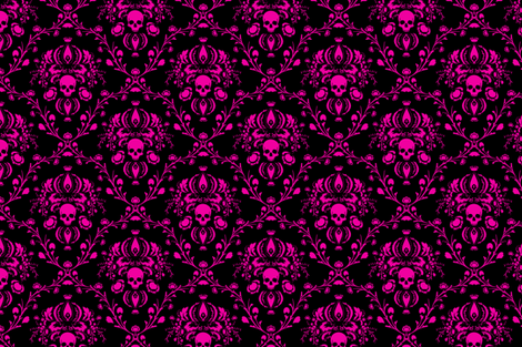 Pink on Black Skull Damask fabric by elizabeth on Spoonflower - custom fabric