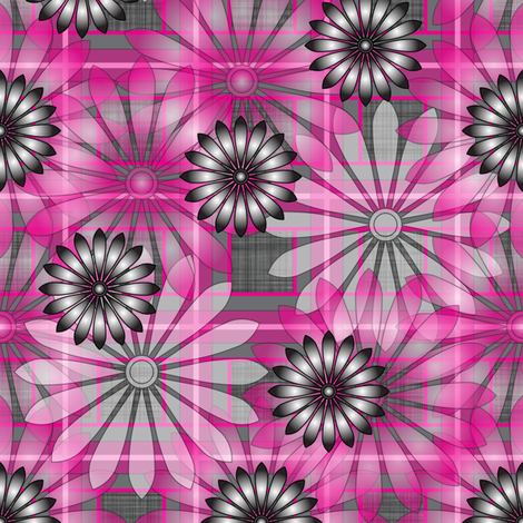 LG_Pink_Flower_Plaid_Linen fabric by michelle_zollinger_tams on Spoonflower - custom fabric