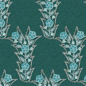 Lost tjap shawl-dress fabric1 - VECTOR-blgrns-brn-DKMALLARD-patternbkgr2