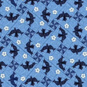 ©2011 Whirley Birds and White Flowers - blue