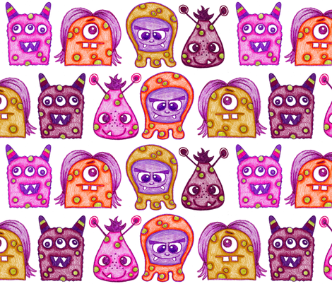 Warted Crayon Monsters fabric by run_quiltgirl_run on Spoonflower - custom fabric