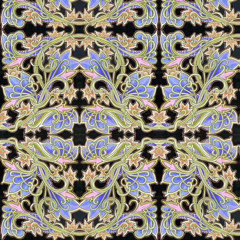 Art Nouveau Gardening (with copper outline) fabric by edsel2084 on Spoonflower - custom fabric