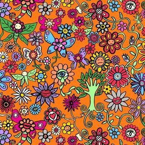 Peculiar Petal Pen-friends Orange Background