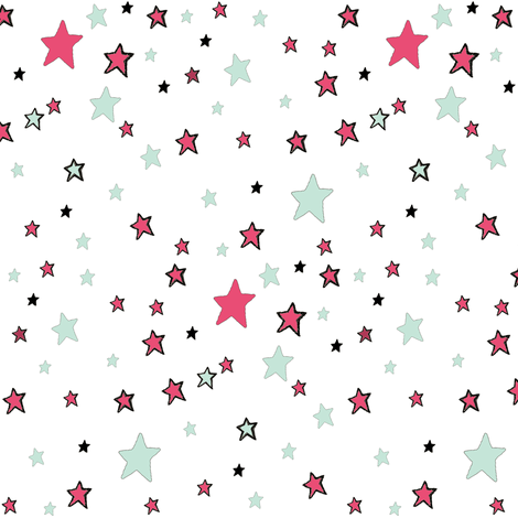 Paper Moon Collection -  Teal Red and Mint Green Stars on White fabric by bohobear on Spoonflower - custom fabric