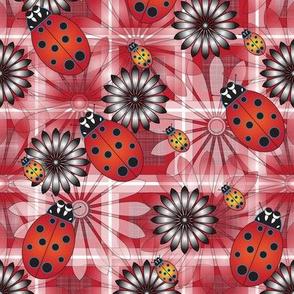 Lady_Bug_Flower_Maroon_Plaid