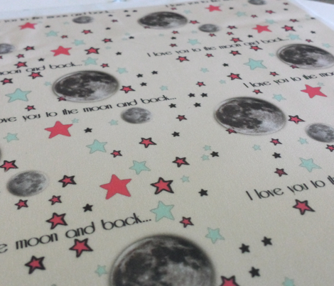 "Paper Moon Collection - Cream Cappuccino Moon & Stars ""I love you to the moon and back"""