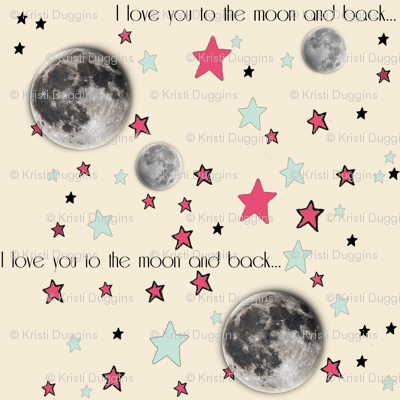 """Paper Moon Collection - Cream Cappuccino Moon & Stars """"I love you to the moon and back"""""""