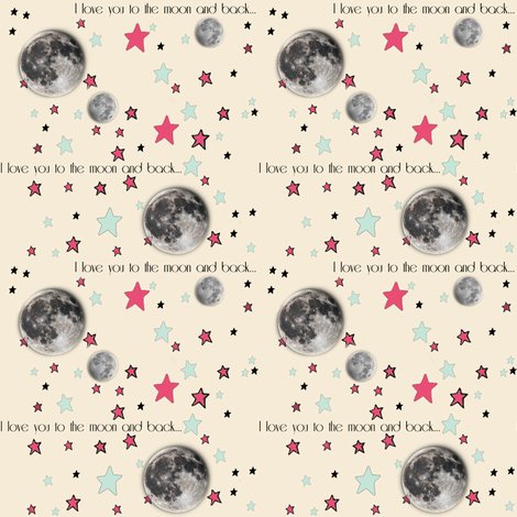"""Paper Moon Collection - Cream Cappuccino Moon & Stars """"I love you to the moon and back"""" fabric by bohobear on Spoonflower - custom fabric"""