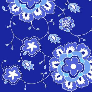 summerfabricnavyflowers