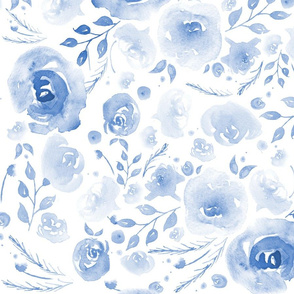 Watercolor Floral Blue