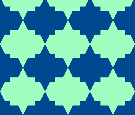 Modern Aztec Quatrefoil Navy Green fabric by arm_pillozzz on Spoonflower - custom fabric
