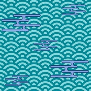 Japanese Clouds on Waves - Teal and Blue