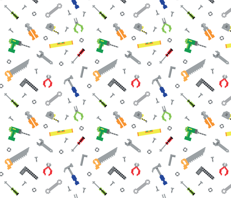 Pixel game construction tools  fabric by vectorific_design on Spoonflower - custom fabric