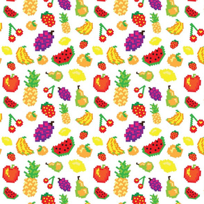 Retro pixel fruit pattern