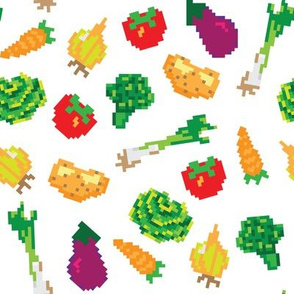 Pixel vegetables vector