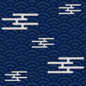 Japanese Clouds on Waves - Navy and White