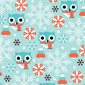 Cold christmas owl winter woodland