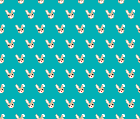 Cute bunny blue pattern for kids fabric by littlesmilemakers on Spoonflower - custom fabric