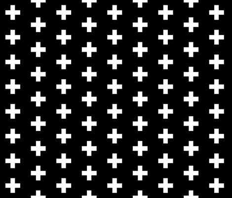 White Crosses on Black - Black Plus Signs fabric by modfox on Spoonflower - custom fabric