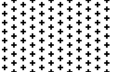 Black Crosses on White - Black Plus Sign fabric by modfox on Spoonflower - custom fabric