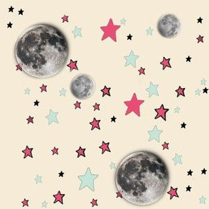 Paper Moon Collection - Cream Cappuccino Moon & Stars