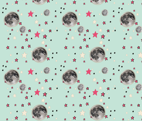 Paper Moon Collection - Mint Green Moon & Stars fabric by bohobear on Spoonflower - custom fabric