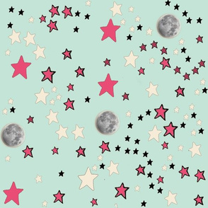 Mint Green Moon & Stars | Paper Moon Collection
