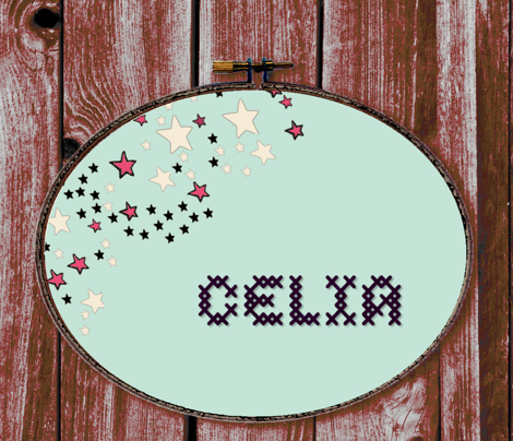 Paper Moon Collection - Colorful Mint Green Star Border