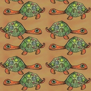 Turtles on Orange Brown