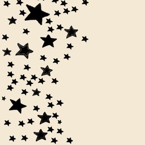 Paper Moon Collection - Black Cream Cappuccino Star Border
