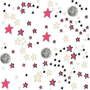 Paper Moon Collection - White Moon & Stars